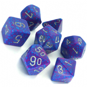 Blue & Red 'Silver Tetra' Speckled Polyhedral 7 Dice Set